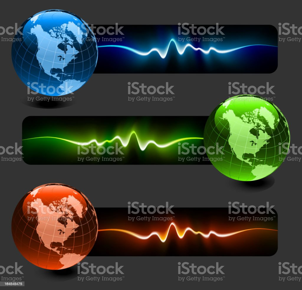 Globes Collection with Pulse Banners royalty-free stock vector art