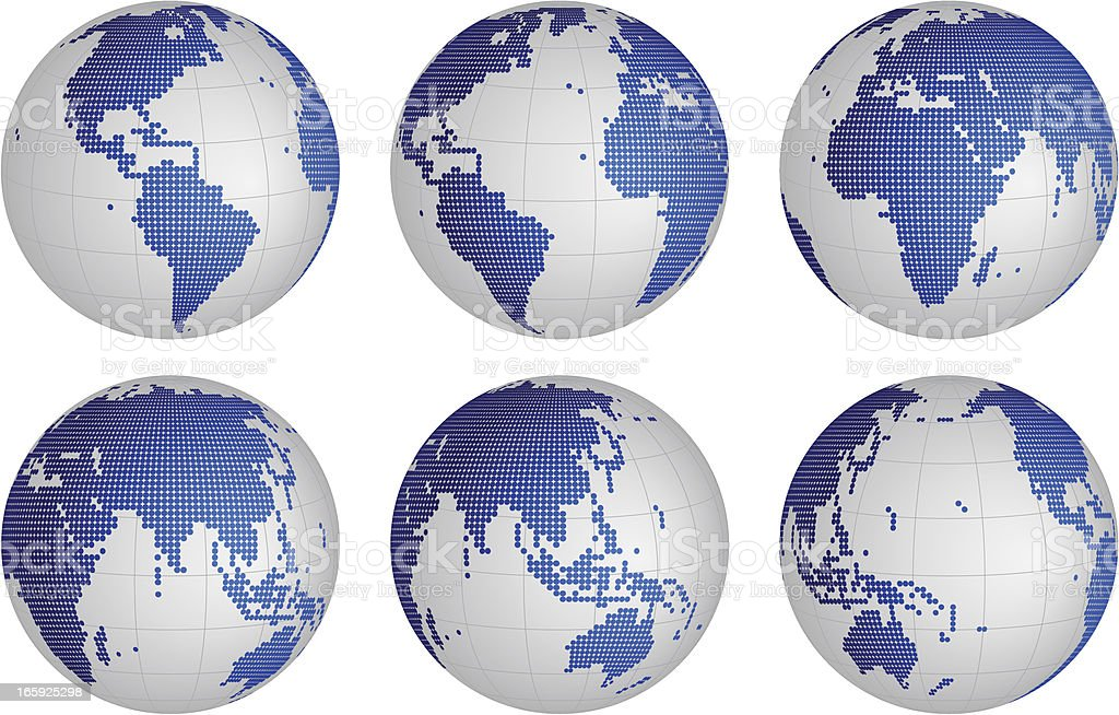 Globes dotted set royalty-free stock vector art