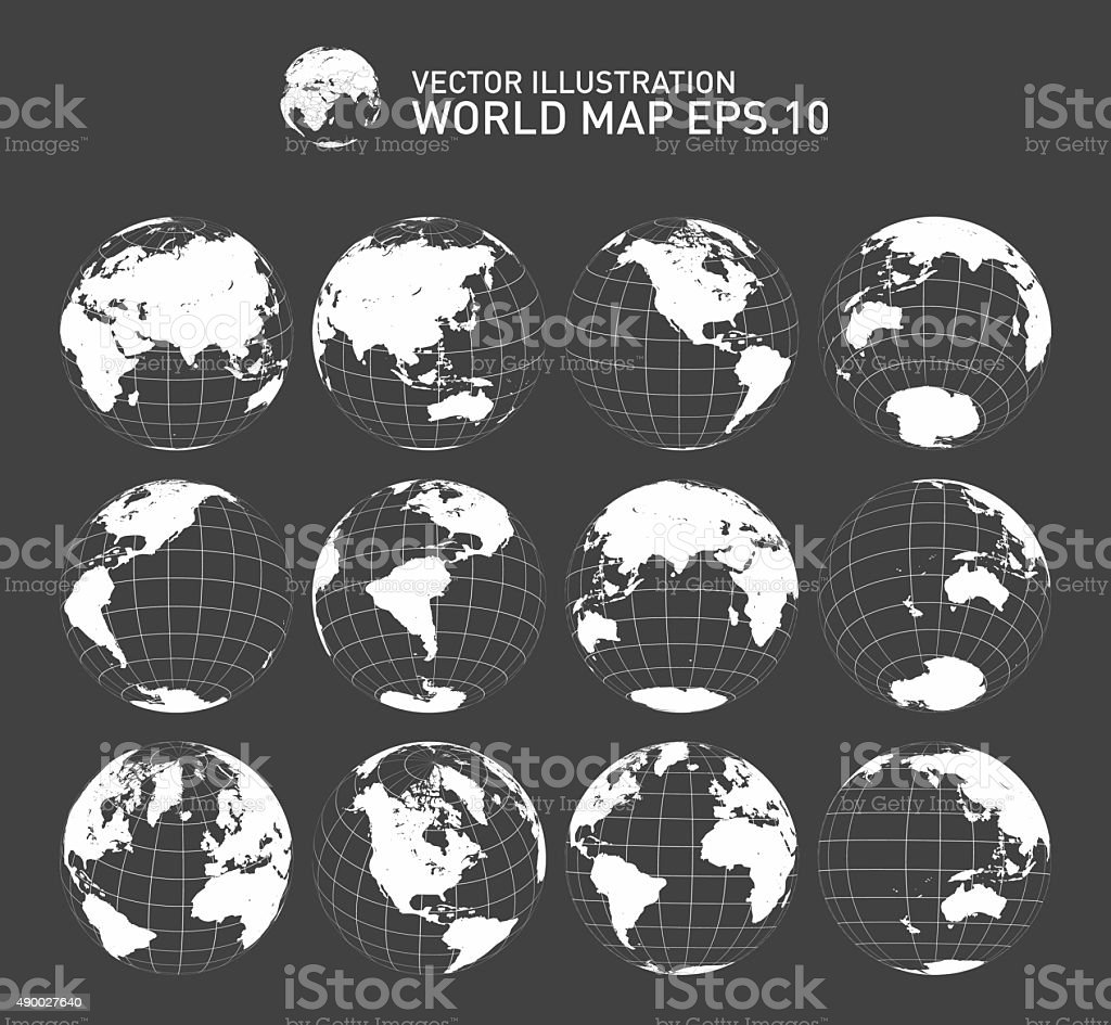 Globes icon set showing earth with all continents vector art illustration