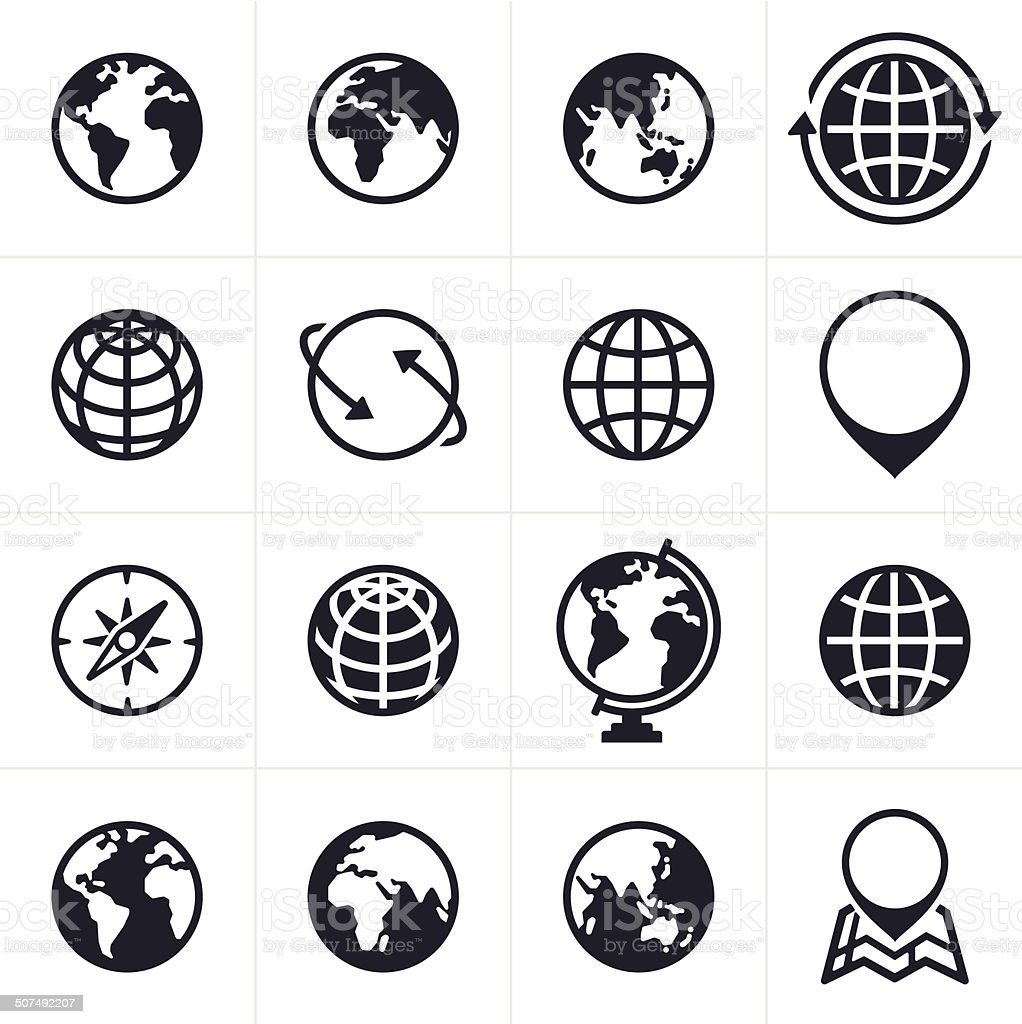 Globes Icons and Symbols vector art illustration