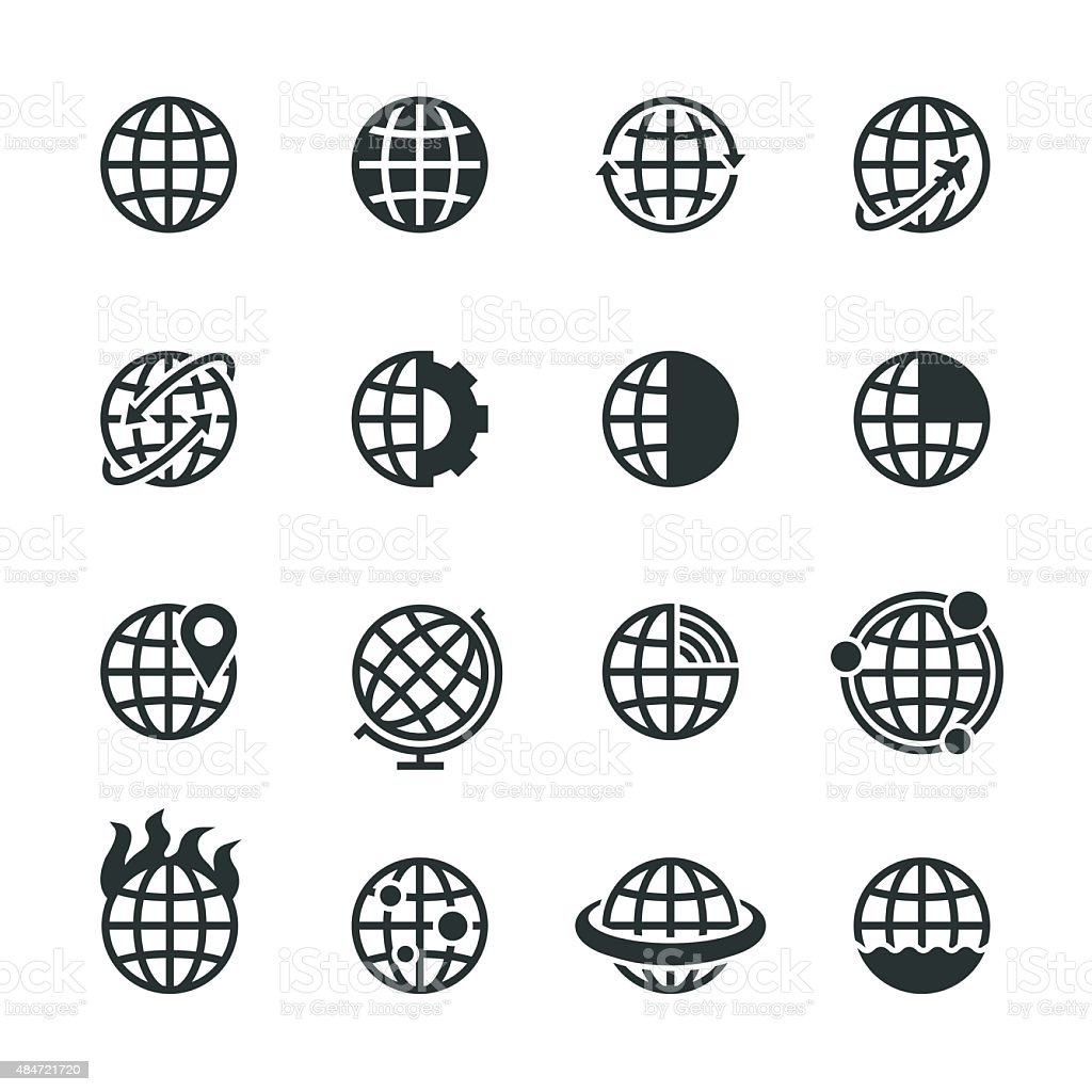 Globes Silhouette Icons vector art illustration