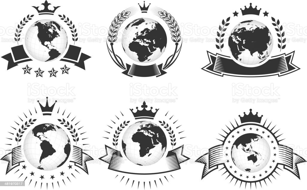 Globesblack & white Badges with Crown royalty-free stock vector art