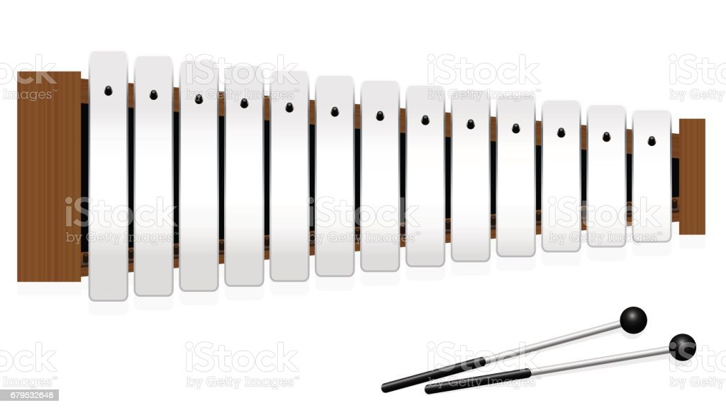 Glockenspiel or metallophone with thirteen metal bars and two percussion mallets - top view - isolated vector illustration on white background. vector art illustration