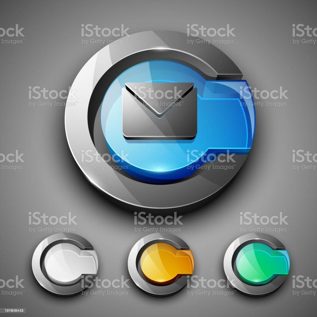 Glossy 3D web 2.0 message symbol icon set. stock photo