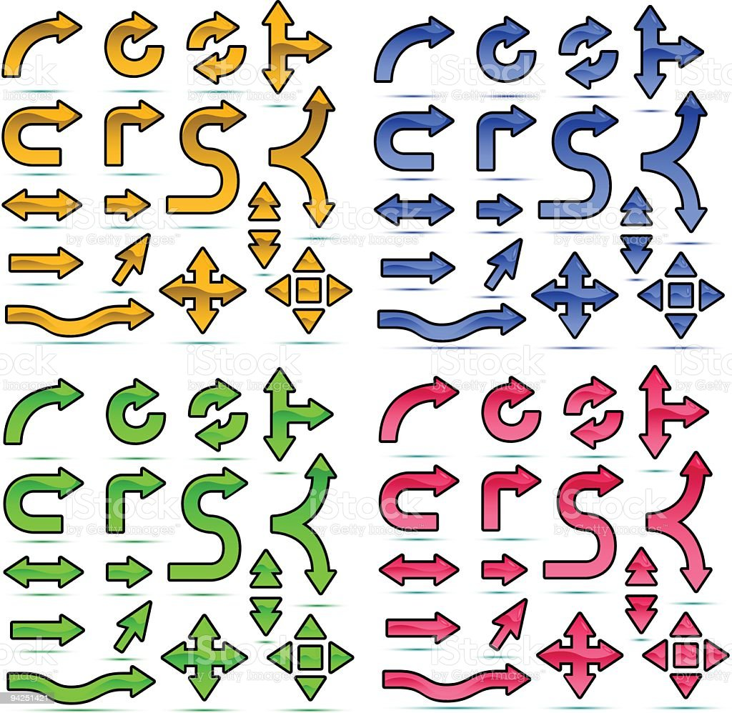 Glossy Arrows icon set royalty-free stock vector art