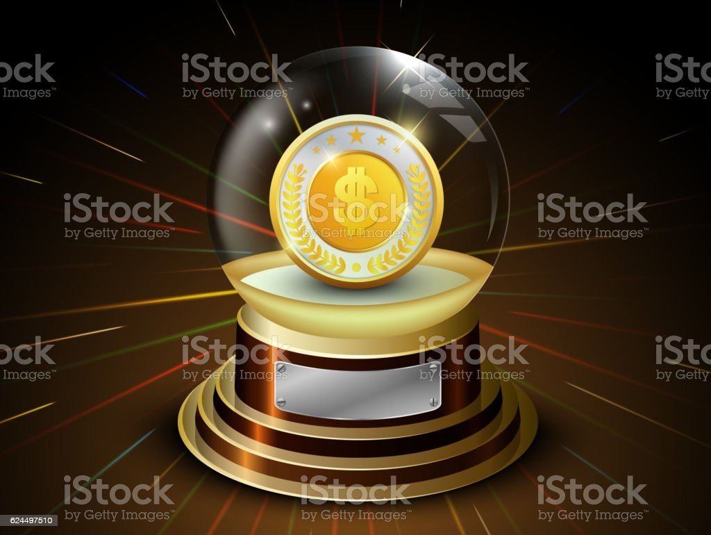 Glossy ball with golden coin and dollar sign vector art illustration