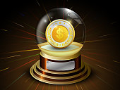Glossy ball with golden coin and dollar sign