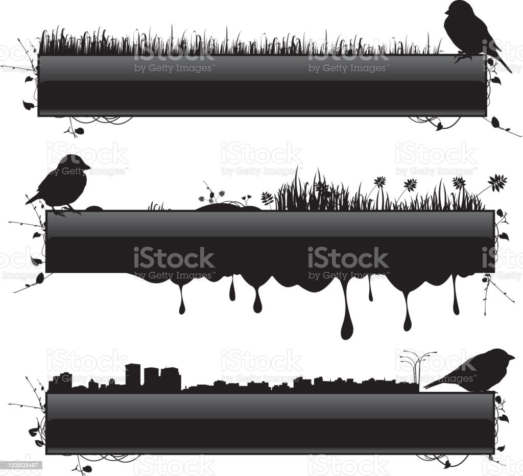 Glossy banners with bird silhouettes royalty-free stock vector art