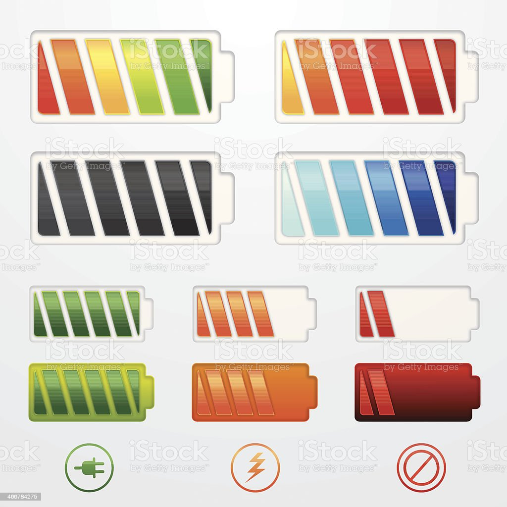 Glossy battery icons royalty-free stock vector art