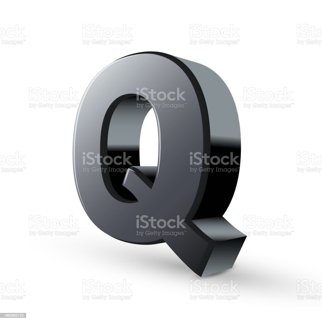 glossy black alphabet Q vector art illustration