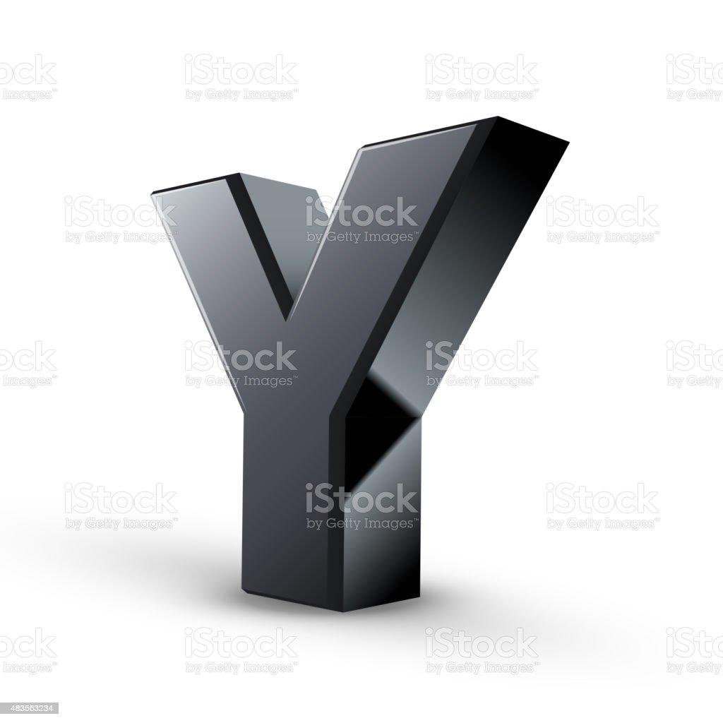 glossy black alphabet Y vector art illustration
