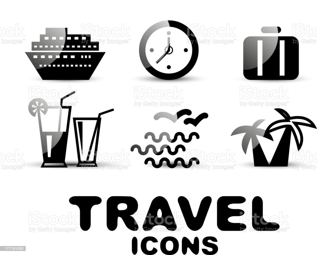 Glossy black and white travel icons royalty-free stock vector art