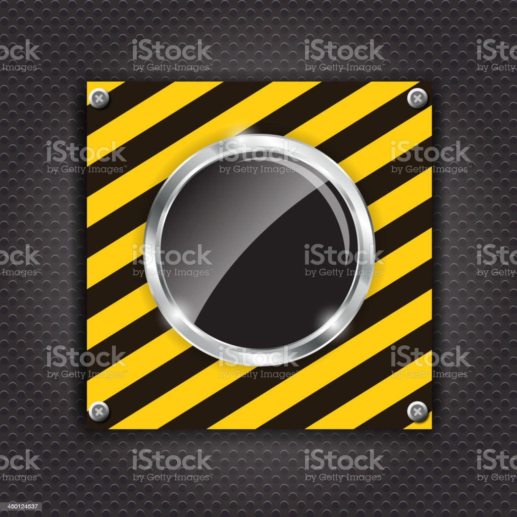 Glossy black button on a construction background vector illustration royalty-free stock vector art