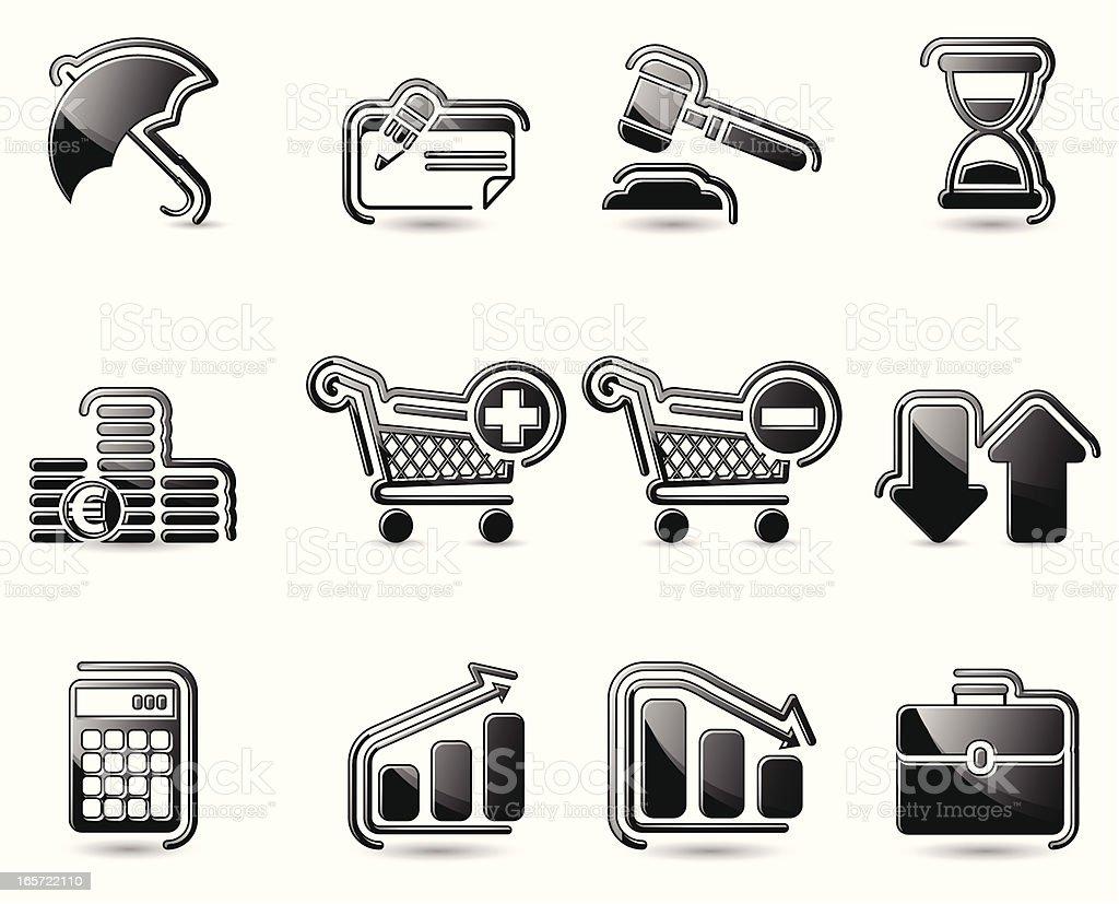 Glossy Black Icons - Finance royalty-free stock vector art