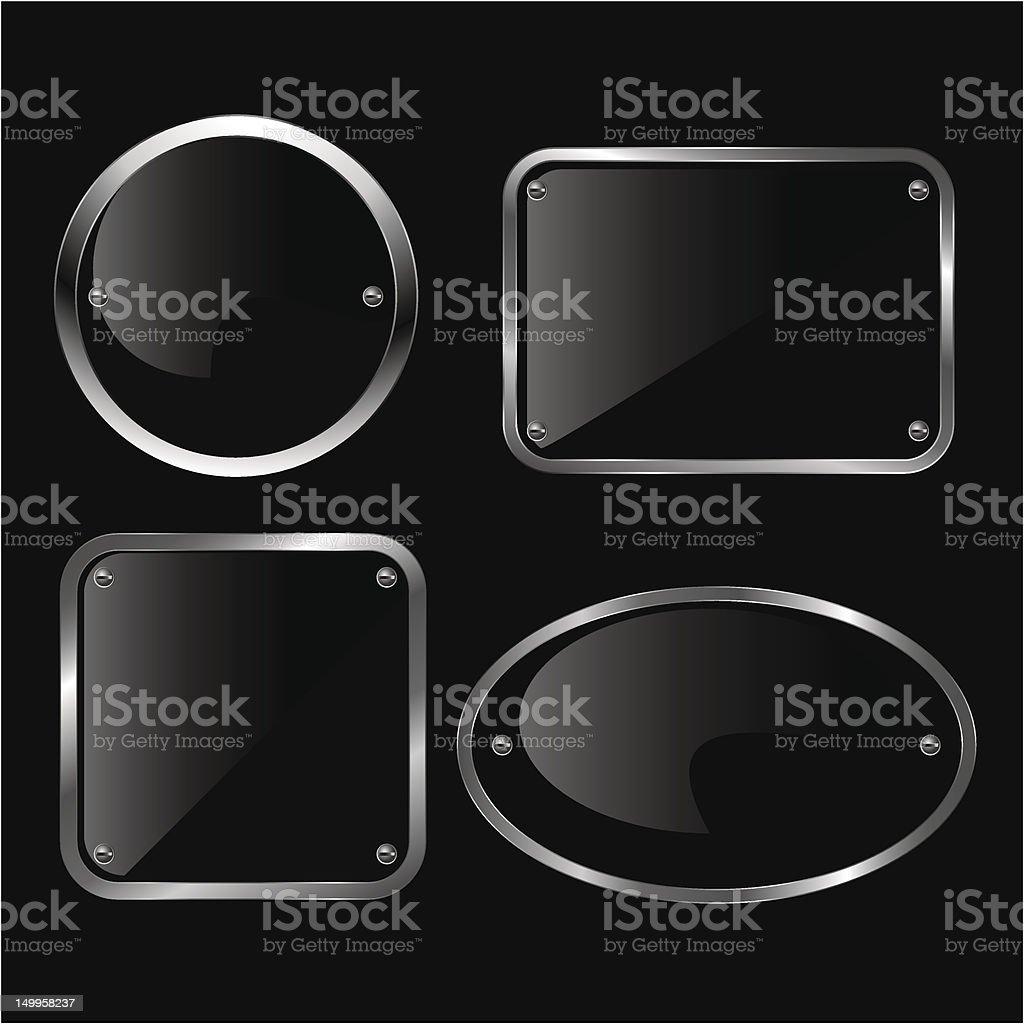 Glossy black plate set. Vector illustration. royalty-free stock vector art