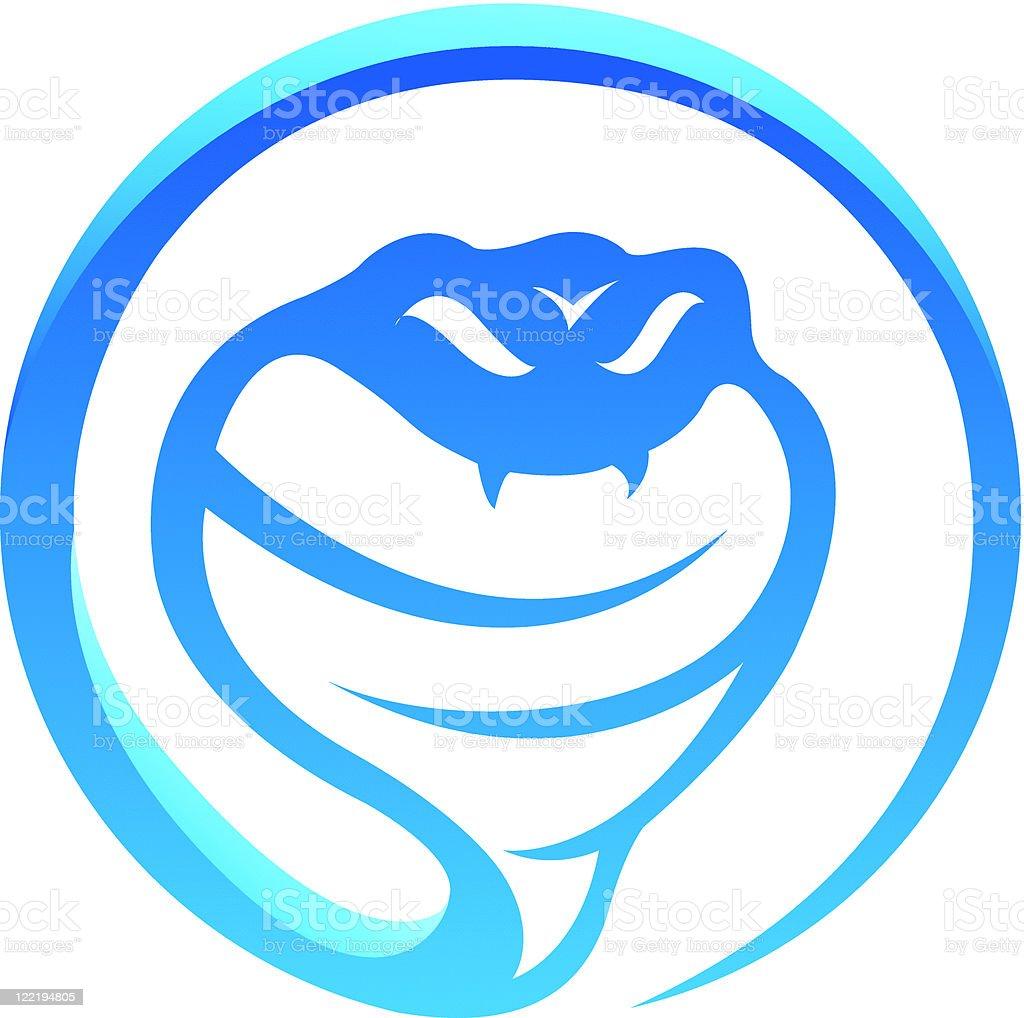 Glossy blue snake vector art illustration