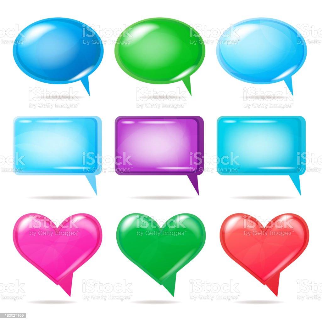 Glossy bubbles for speech, vector illustration. royalty-free stock vector art