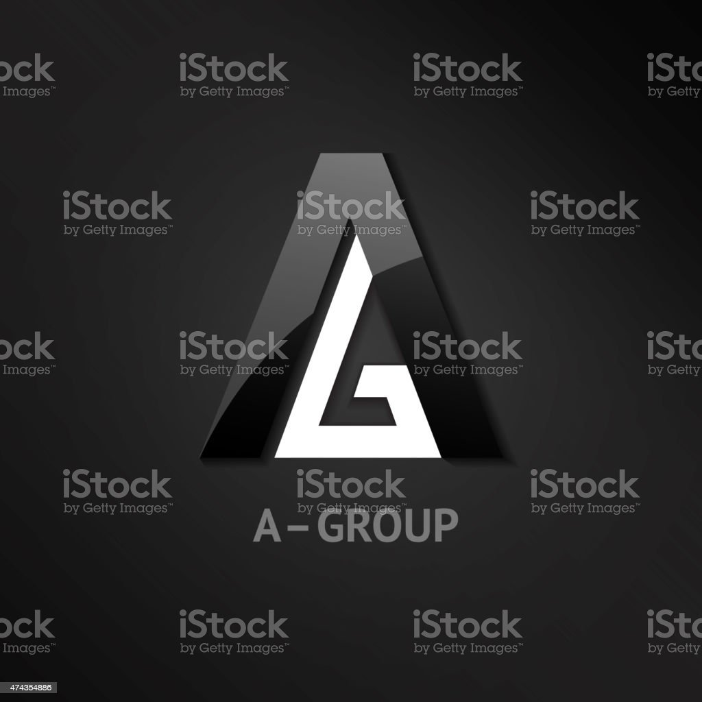 Glossy Business Logo Symbol with A and G Letters vector art illustration