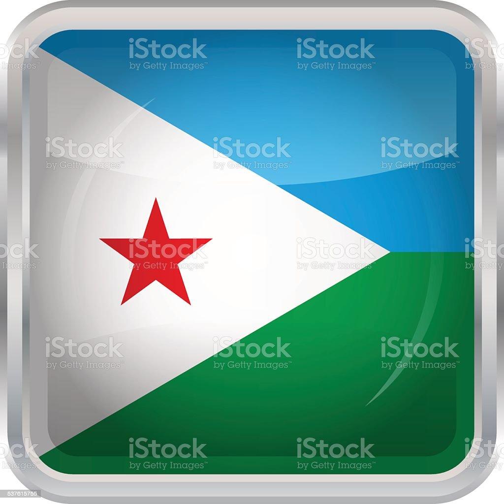 Glossy Button - Flag of Djibouti vector art illustration