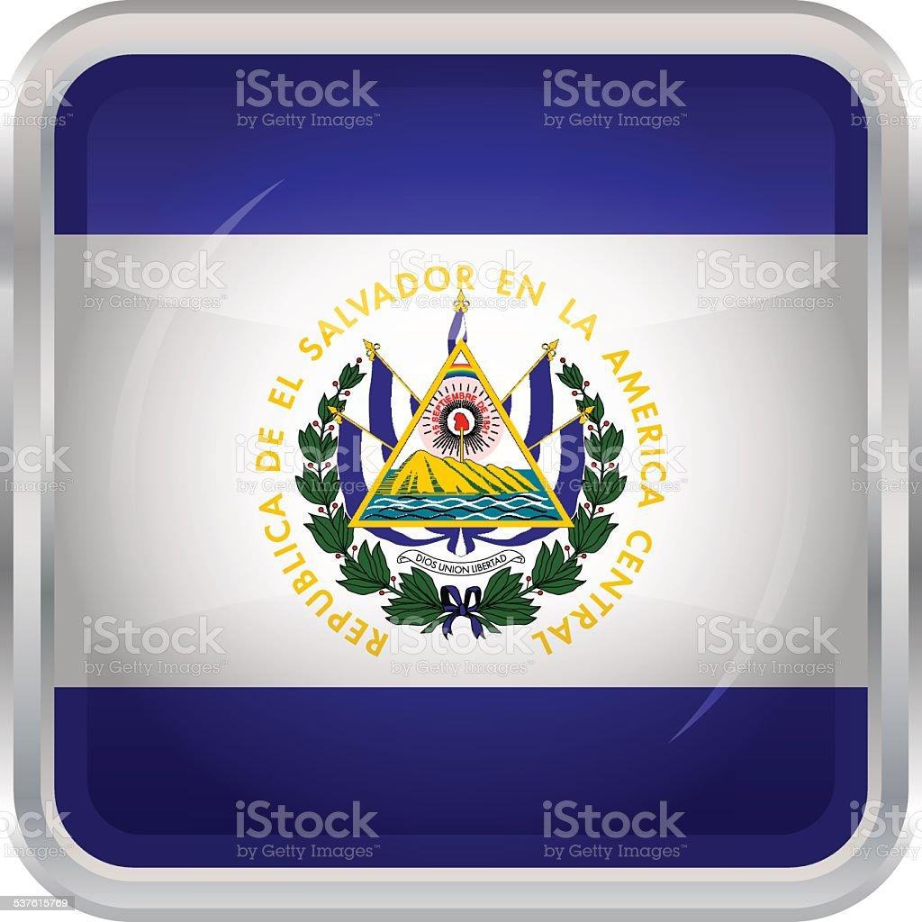 Glossy Button - Flag of El Salvador vector art illustration