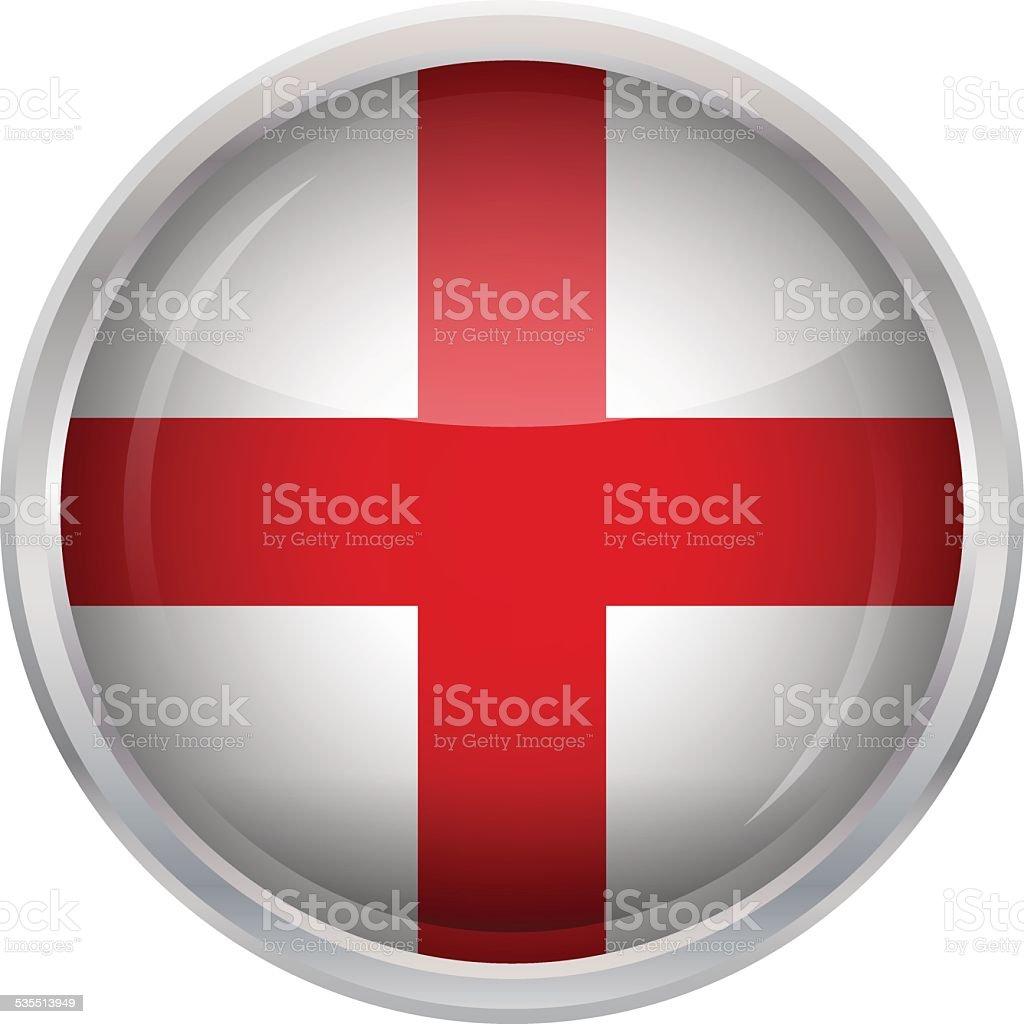 Glossy Button - Flag of England vector art illustration