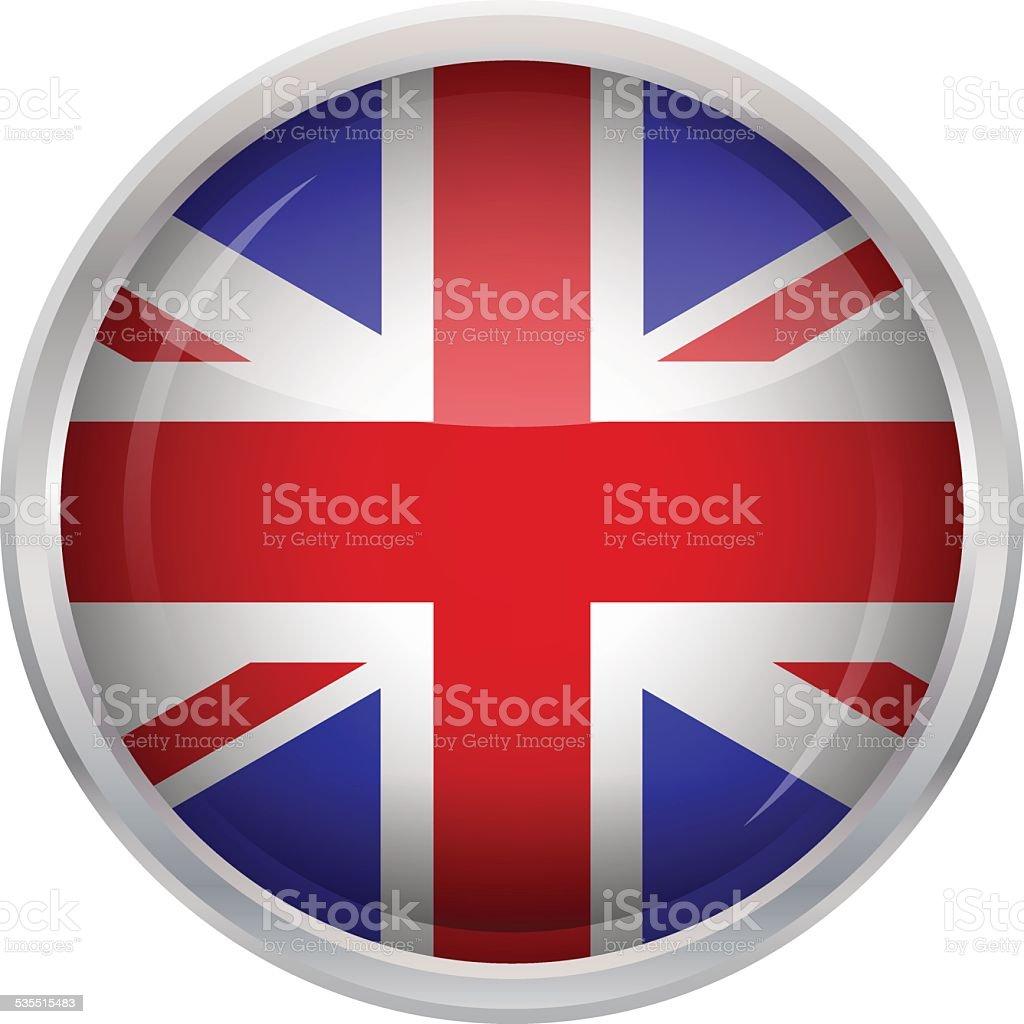 Glossy Button - Flag of United Kingdom vector art illustration