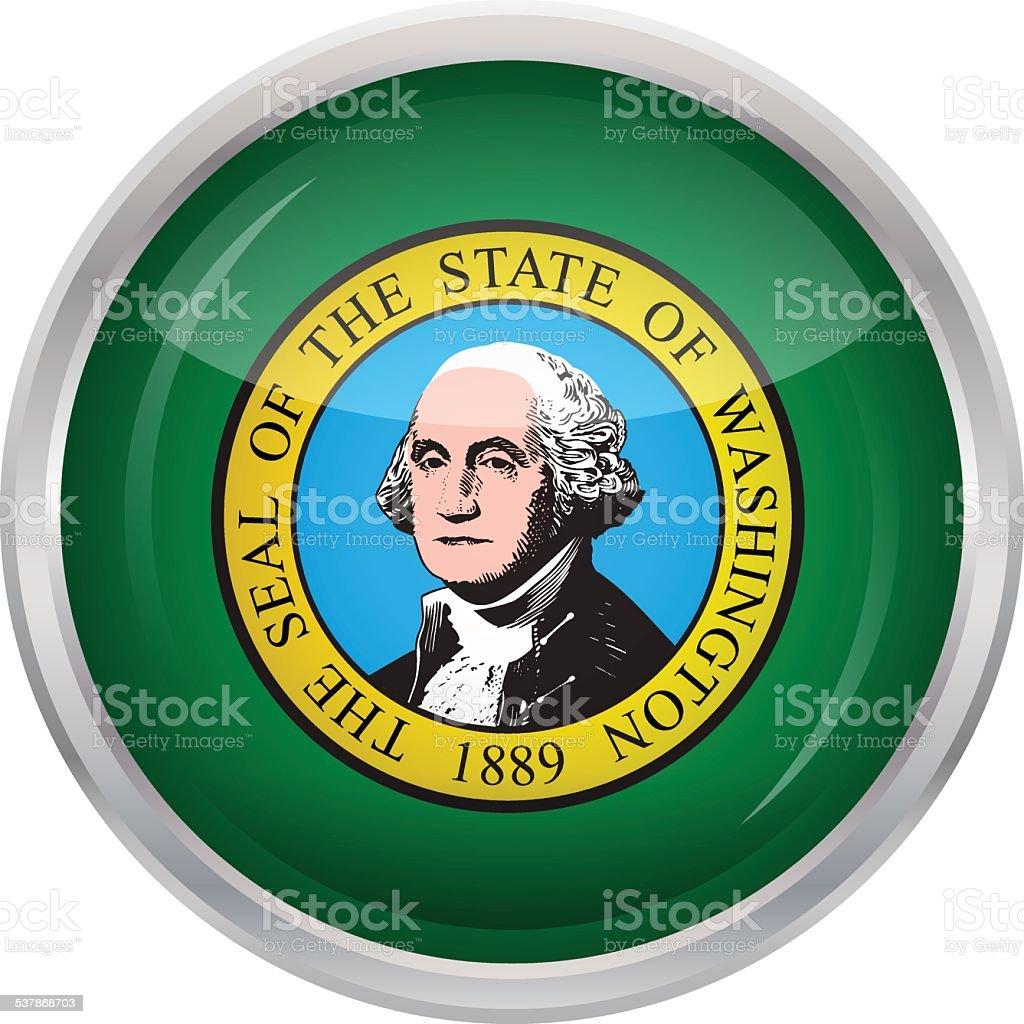 Glossy Button - Flag of Washington state vector art illustration