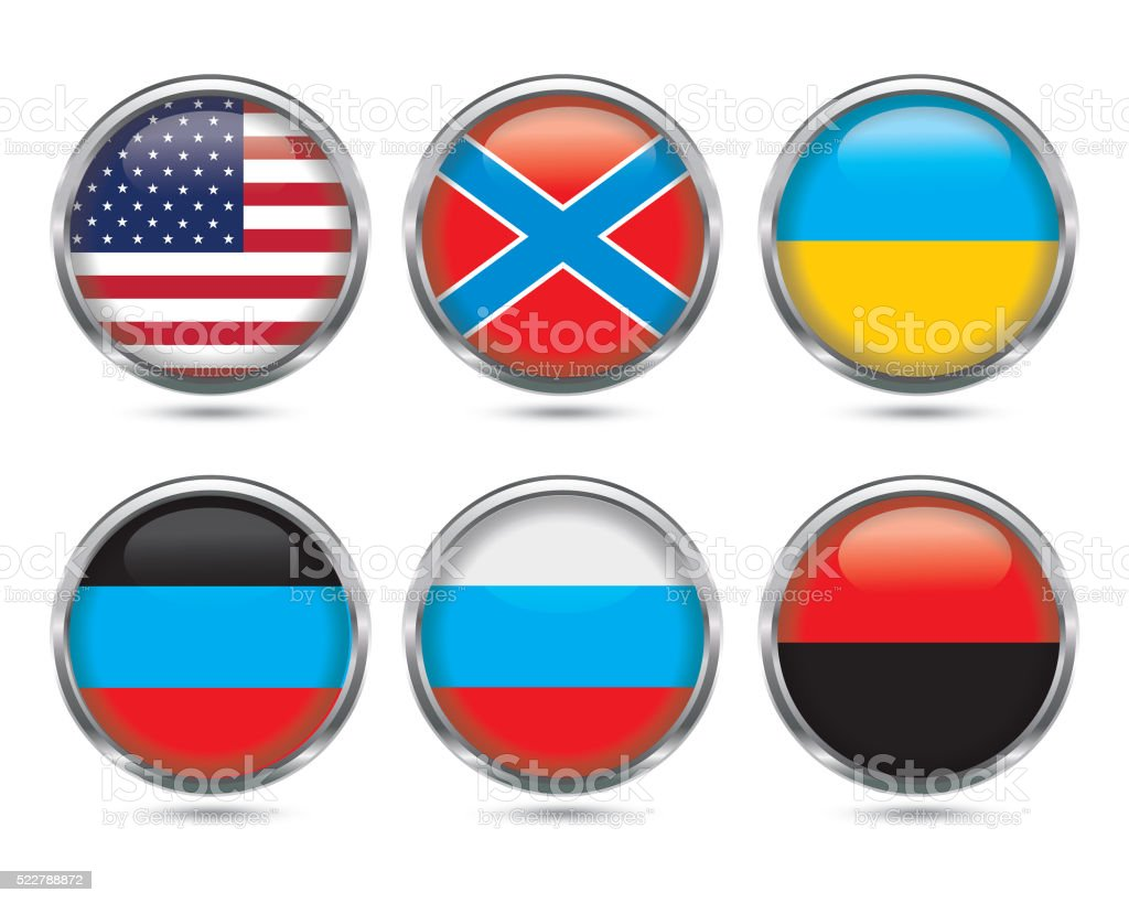 glossy button flag vector art illustration