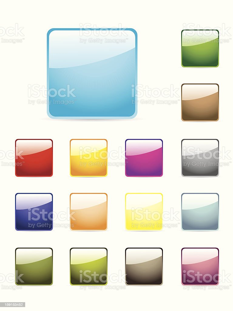 Glossy button set in different colors royalty-free stock vector art