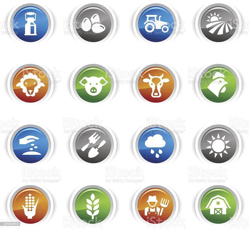 Glossy Buttons - Agriculture and Farming icons vector art illustration