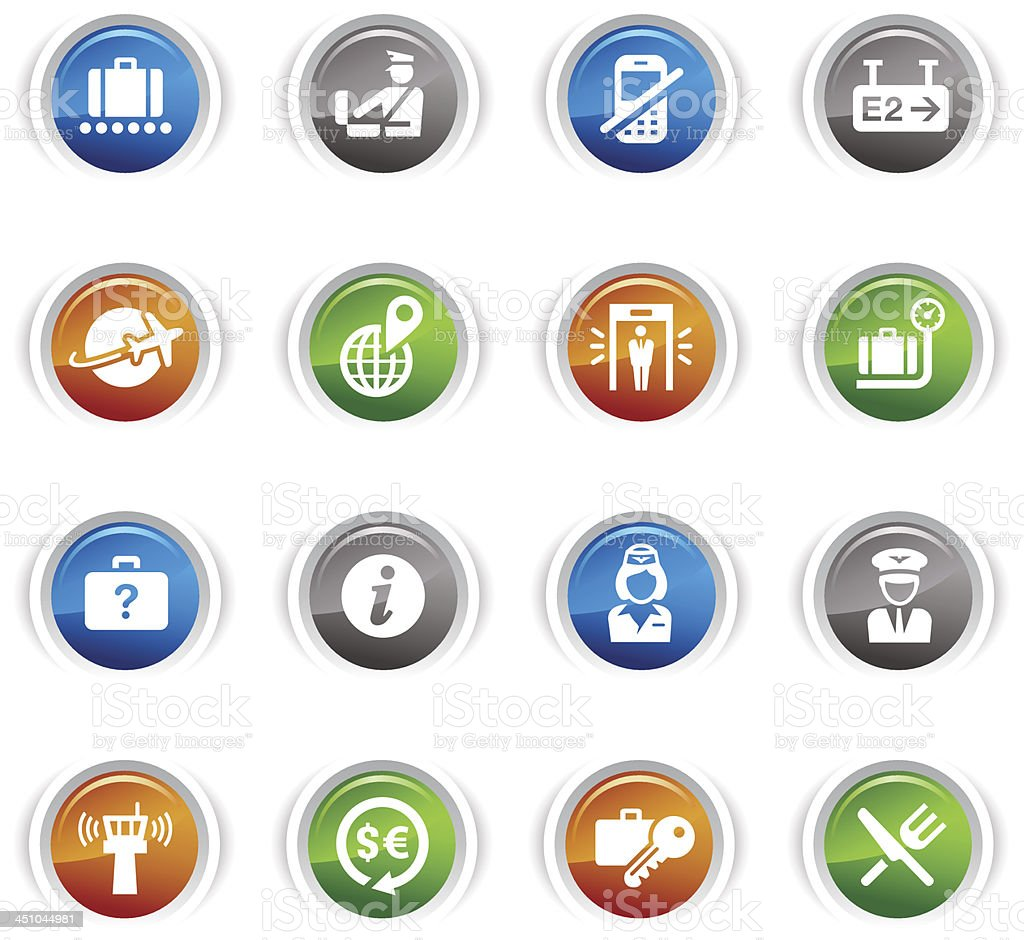 Glossy Buttons - Airport and Travel icons royalty-free stock vector art