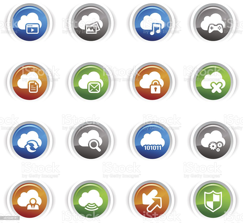 Glossy Buttons - Cloud computing Icons royalty-free stock vector art