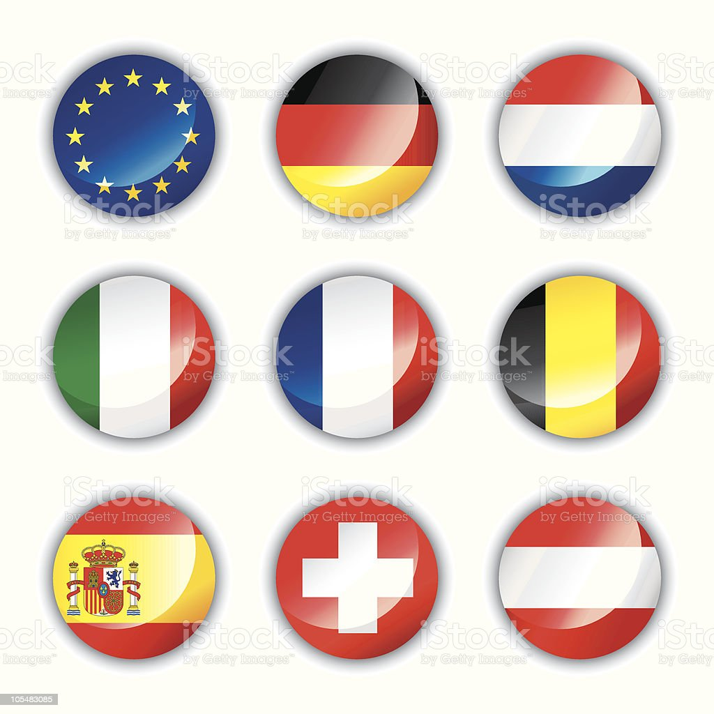 Glossy buttons Europe one royalty-free stock vector art