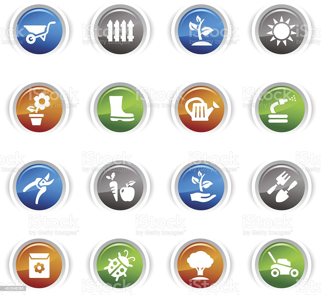 Glossy Buttons - Gardening icons royalty-free stock vector art