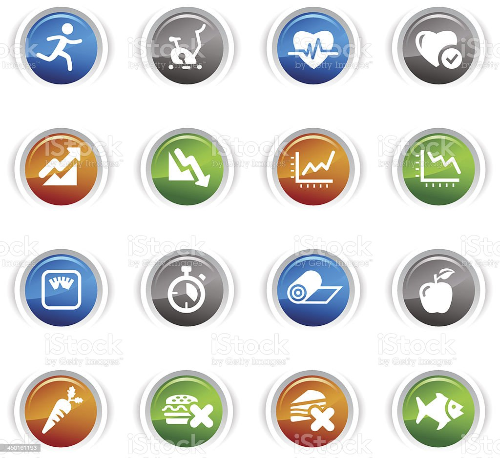 Glossy Buttons - Health and Fitness icons royalty-free stock vector art