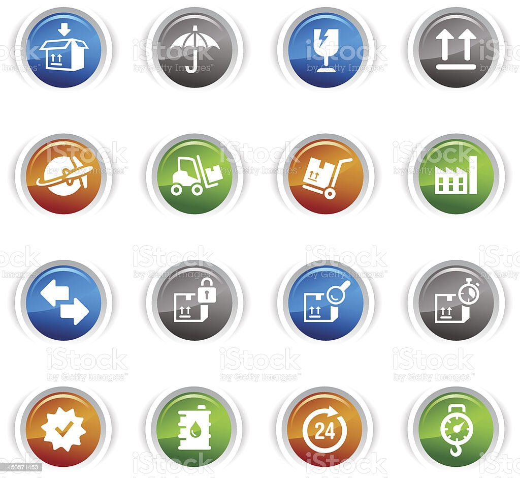Glossy Buttons - Logistic and Shipping icons royalty-free stock vector art