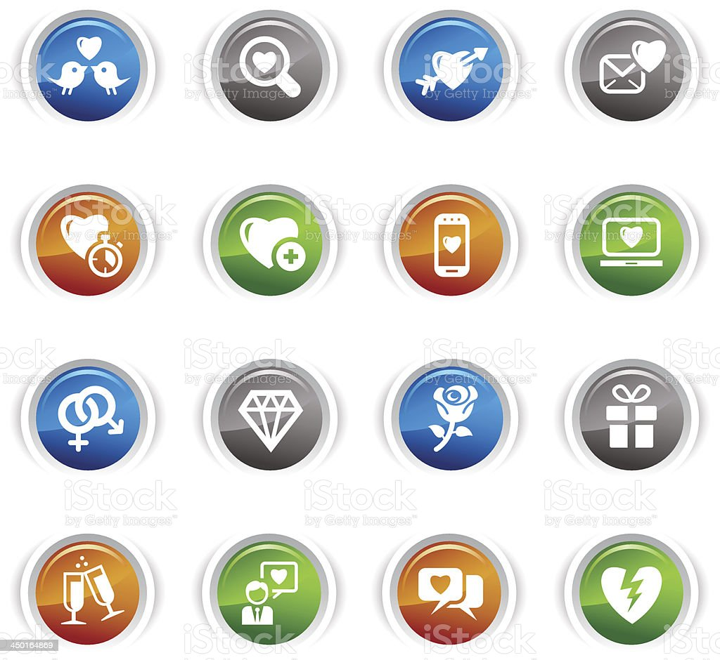Glossy Buttons - Love and Dating icons royalty-free stock vector art