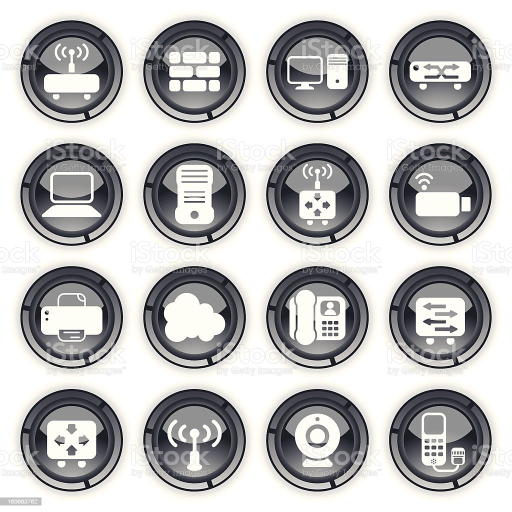 Glossy Buttons | Network Devices and Elements royalty-free stock vector art