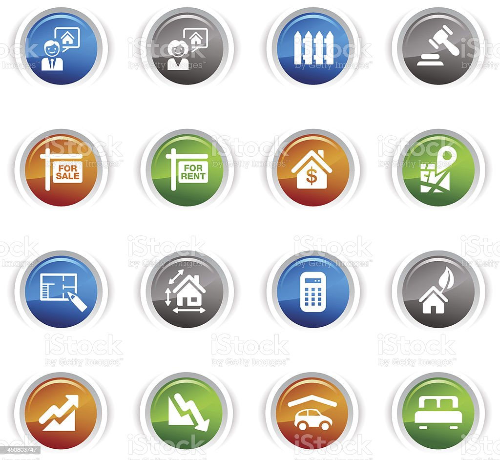 Glossy Buttons - Real estate icons royalty-free stock vector art
