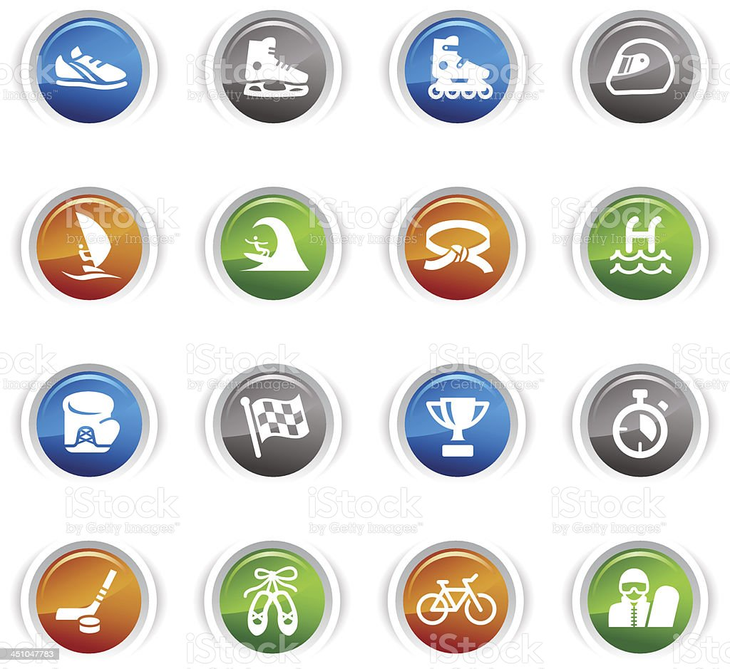 Glossy Buttons - Sport icons vector art illustration