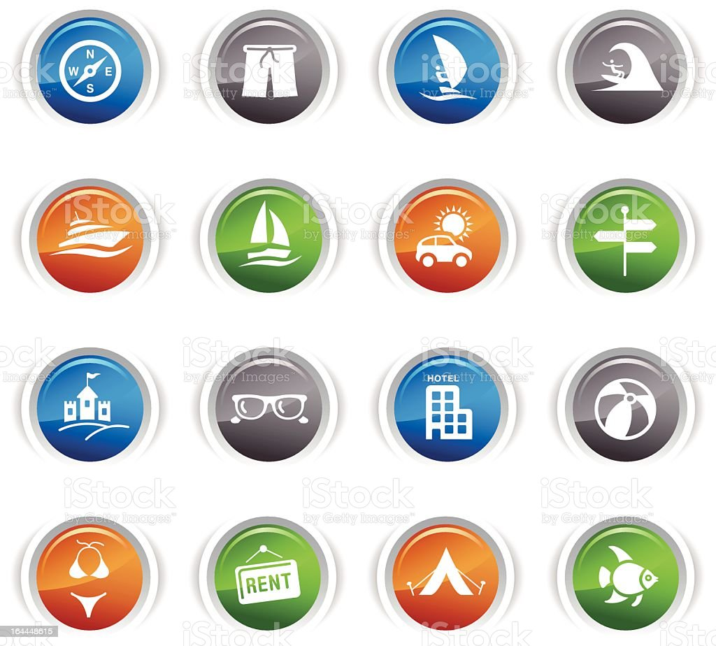 Glossy Buttons - Vacation icons royalty-free stock vector art
