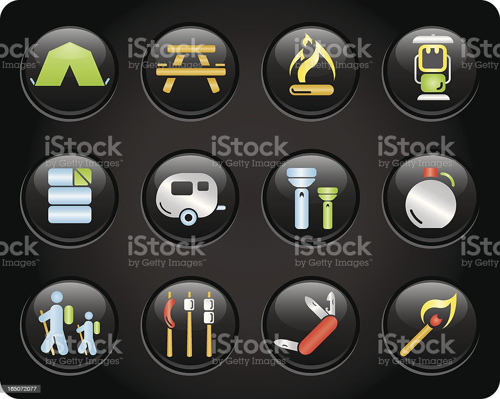 Glossy Camping Buttons royalty-free stock vector art