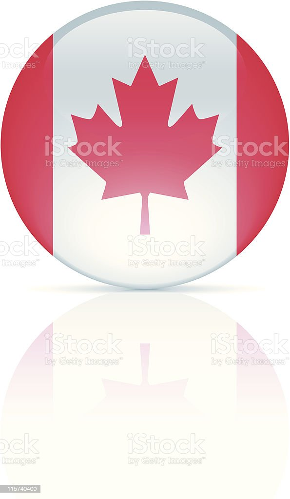 Glossy Canadian Flag Button royalty-free stock vector art