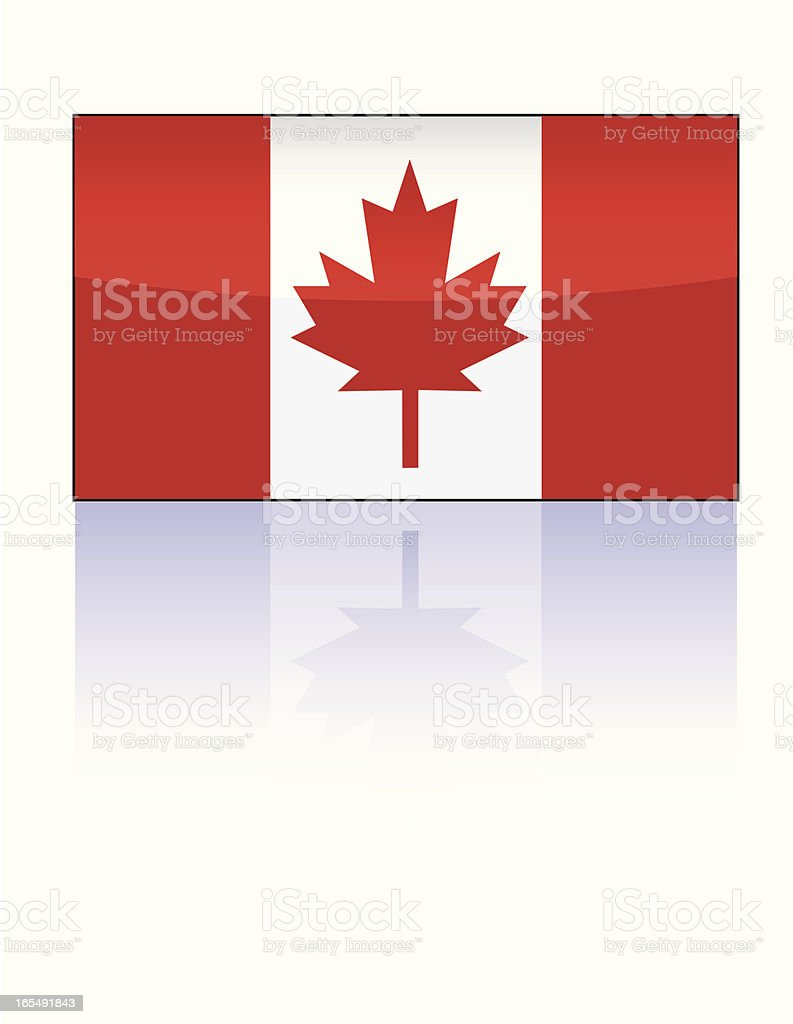 Glossy Canadian Flag royalty-free stock vector art