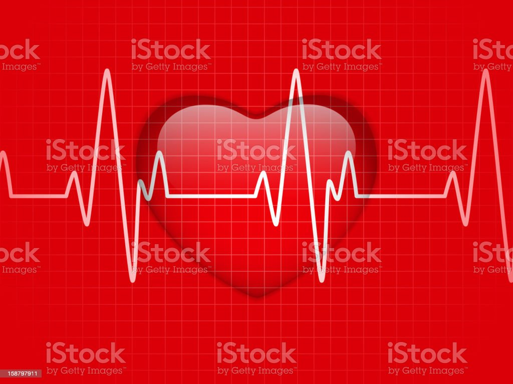 Glossy Cardiogram Glass Red Heart royalty-free stock vector art