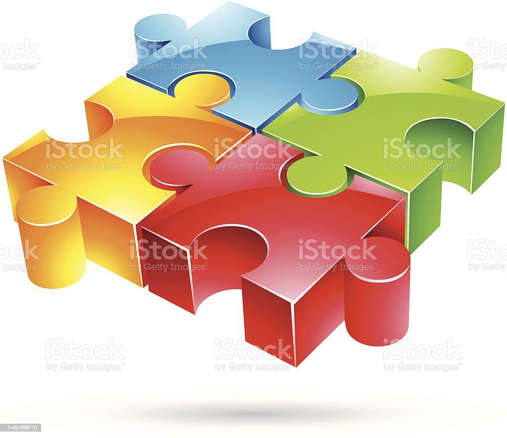 puzzle coloré brillant stock vecteur libres de droits libre de droits