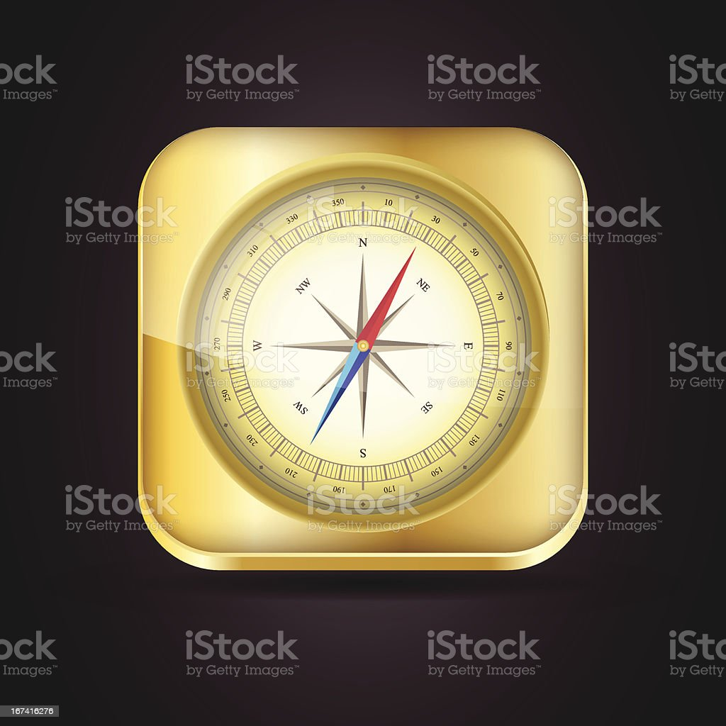 Glossy Compass app icon with windrose. royalty-free stock vector art