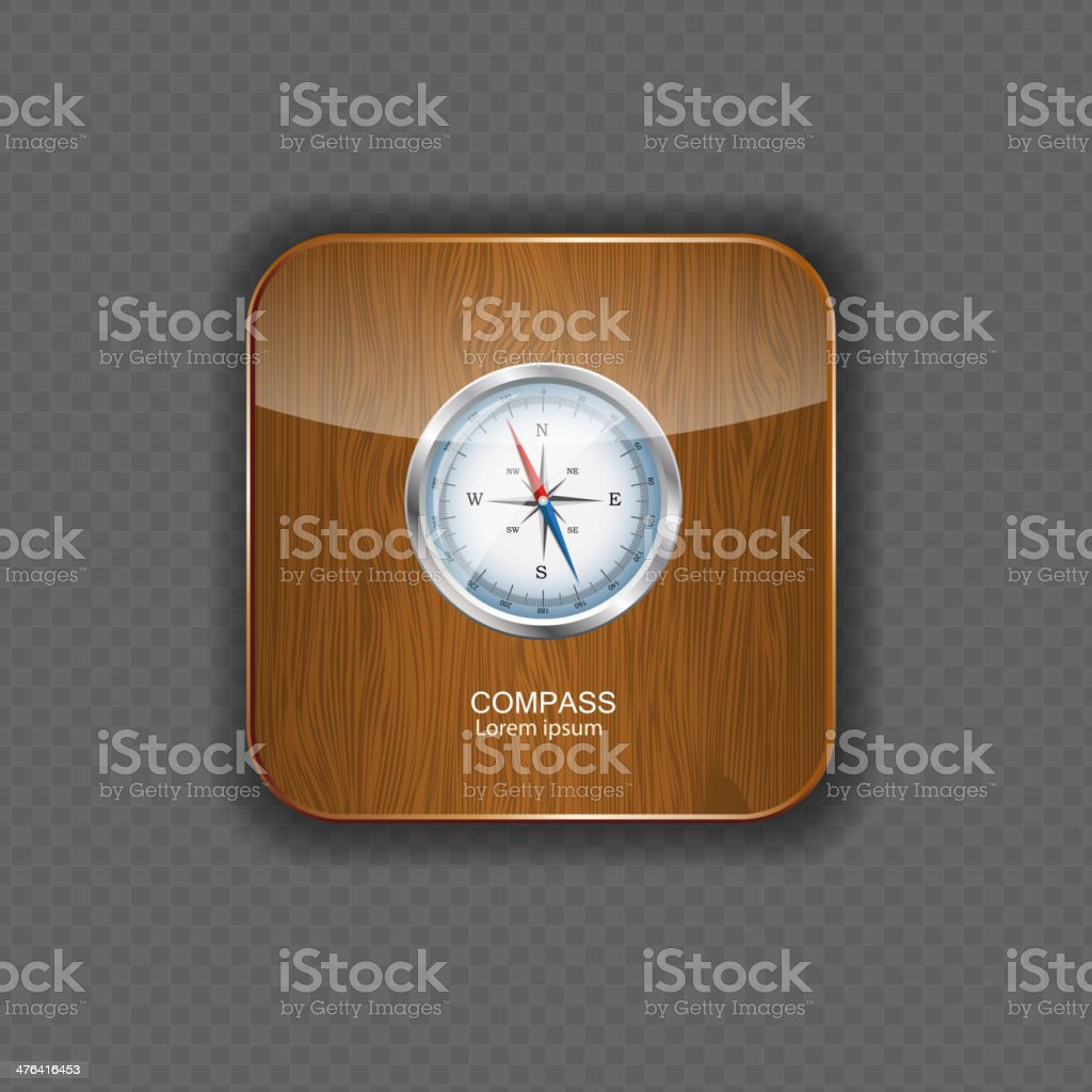 Glossy Compass. Vector Illustration  wood application icons royalty-free stock vector art