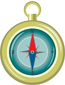 Glossy Compass With Windrose. Vector Illustration. EPS10