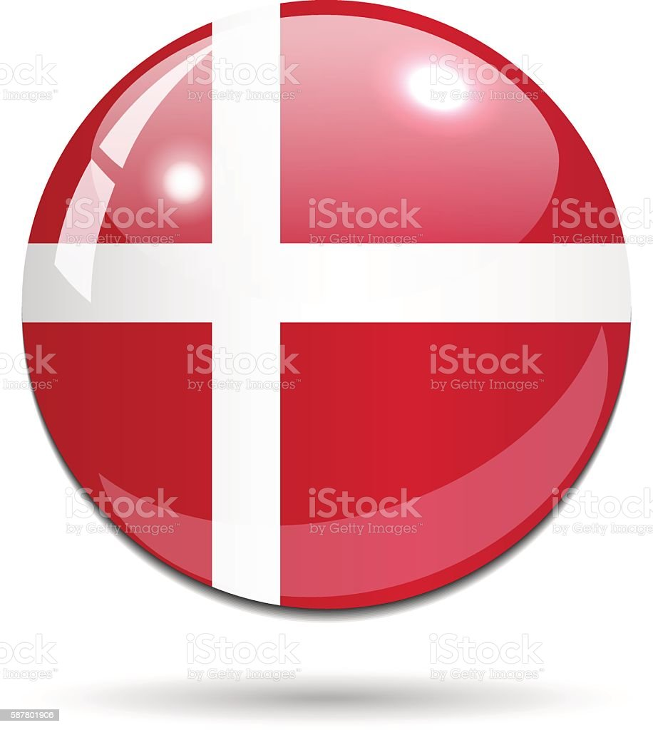 Glossy Denmark flag button on white background with shadow vector art illustration